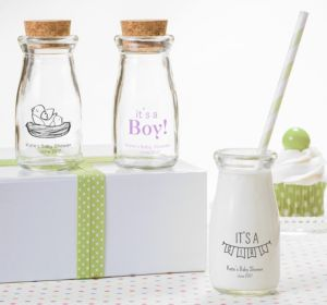 Personalized Baby Shower Glass Milk Bottles with Corks (Printed Glass) (Navy, It's A Boy Banner)