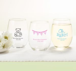 Personalized Baby Shower Stemless Wine Glasses 15oz (Printed Glass) (Sky Blue, My Little Man - Mustache)