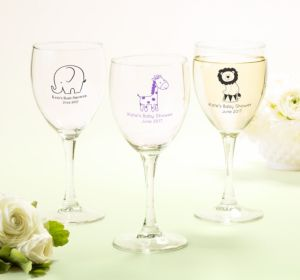 Personalized Baby Shower Wine Glasses (Printed Glass) (Navy, Giraffe)