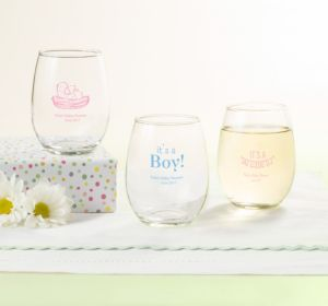 Personalized Baby Shower Stemless Wine Glasses 9oz (Printed Glass) (Sky Blue, My Little Man - Mustache)