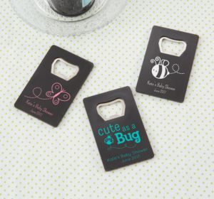 Personalized Baby Shower Credit Card Bottle Openers - Black (Printed Plastic) (White, It's A Girl)