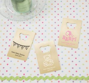 Personalized Baby Shower Credit Card Bottle Openers - Gold (Printed Metal) (Navy, Cute As A Bug)
