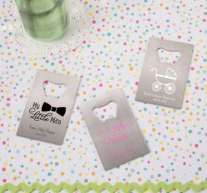 Personalized Baby Shower Credit Card Bottle Openers - Silver (Printed Metal) (Purple, Cute As A Button)