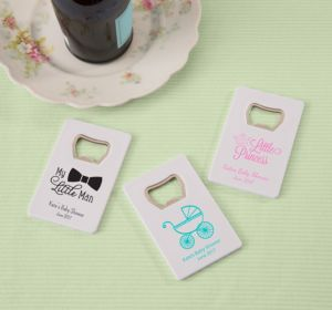 Personalized Baby Shower Credit Card Bottle Openers - White (Printed Plastic) (Sky Blue, Sweet As Can Bee)