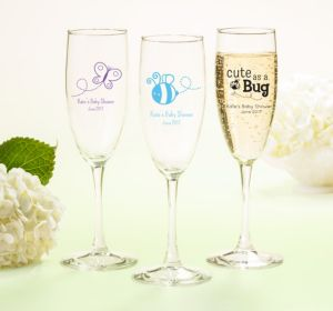 Personalized Baby Shower Champagne Flutes (Printed Glass) (Sky Blue, Baby Bunting)