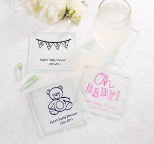 Personalized Baby Shower Glass Coasters, Set of 12 (Printed Glass) (Sky Blue, Baby Bunting)