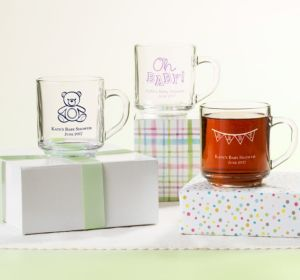 Personalized Baby Shower Glass Coffee Mugs (Printed Glass) (Purple, Baby Bunting)