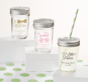 Personalized Baby Shower Mason Jars with Daisy Lids, Set of 12 (Printed Glass) (Sky Blue, Baby Bunting)