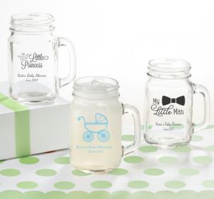 Personalized Baby Shower Mason Jar Mugs (Printed Glass) (Sky Blue, Bird Nest)