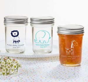 Personalized Baby Shower Mason Jars with Solid Lids (Printed Glass) (Navy, Bear)