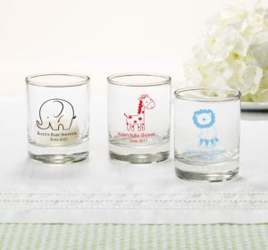 Personalized Baby Shower Shot Glasses (Printed Glass) (Silver, My Little Man - Bowtie)
