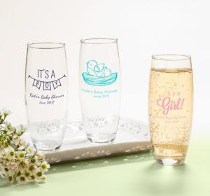Personalized Baby Shower Stemless Champagne Flutes (Printed Glass) (Purple, Sweet As Can Bee Script)