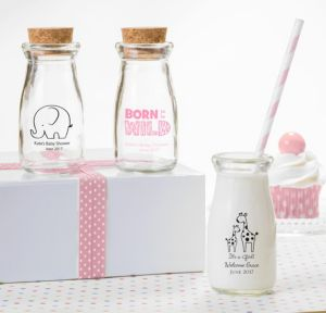 Personalized Baby Shower Glass Milk Bottles with Corks (Printed Glass) (Black, Pink Safari)