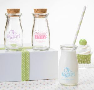 Personalized Baby Shower Glass Milk Bottles with Corks (Printed Glass) (Pink, Baby Brights)
