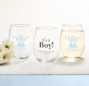 Personalized Baby Shower Stemless Wine Glasses 15oz (Printed Glass) (Sky Blue, Shower Love Boy)