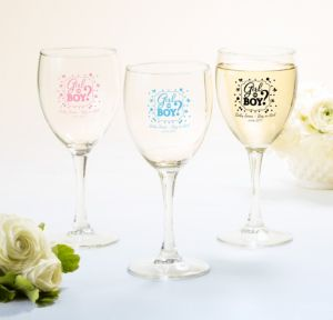 Personalized Baby Shower Wine Glasses (Printed Glass) (Pink, Gender Reveal)