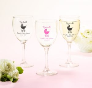 Personalized Baby Shower Wine Glasses (Printed Glass) (White, Tiny Bundle)