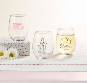 Personalized Baby Shower Stemless Wine Glasses 9oz (Printed Glass) (Bright Pink, Pink Safari)