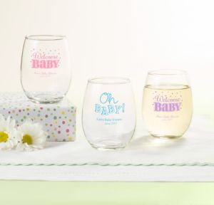 Personalized Baby Shower Stemless Wine Glasses 9oz (Printed Glass) (Lavender, Baby Brights)