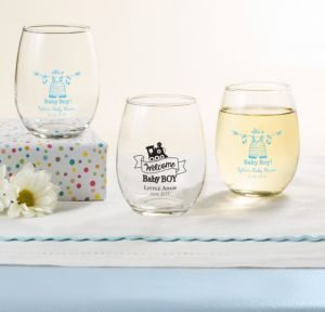 Personalized Baby Shower Stemless Wine Glasses 9oz (Printed Glass) (White, Shower Love Boy)