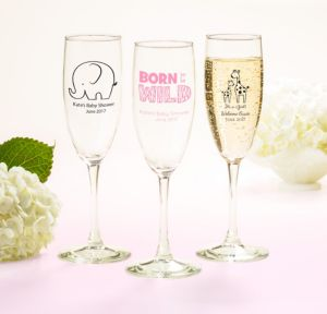 Personalized Baby Shower Champagne Flutes (Printed Glass) (Bright Pink, Pink Safari)