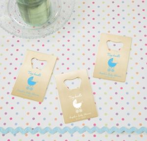 Personalized Baby Shower Credit Card Bottle Openers - Gold (Printed Metal) (Black, Tiny Bundle)