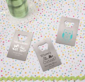 Personalized Baby Shower Credit Card Bottle Openers - Silver (Printed Metal) (Black, Woodland)