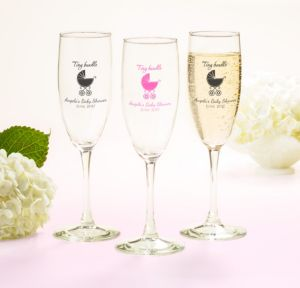 Personalized Baby Shower Champagne Flutes (Printed Glass) (Black, Tiny Bundle)
