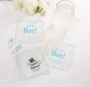 Personalized Baby Shower Glass Coasters, Set of 12 (Printed Glass) (Black, Welcome Boy)