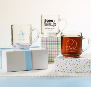 Personalized Baby Shower Glass Coffee Mugs (Printed Glass) (Black, Blue Safari)