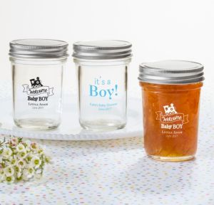 Personalized Baby Shower Mason Jars with Solid Lids (Printed Glass) (Black, Welcome Boy)