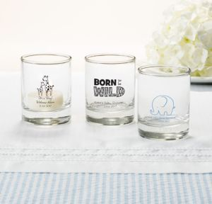 Personalized Baby Shower Shot Glasses (Printed Glass) (Black, Blue Safari)