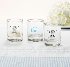 Personalized Baby Shower Shot Glasses (Printed Glass) (Black, Shower Love Boy)