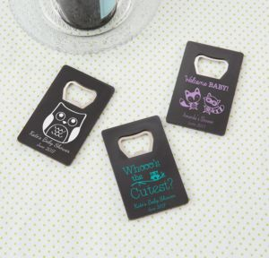Personalized Baby Shower Credit Card Bottle Openers - Black (Printed Plastic) (Lavender, Woodland)