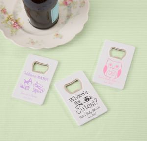 Personalized Baby Shower Credit Card Bottle Openers - White (Printed Plastic) (Lavender, Woodland)
