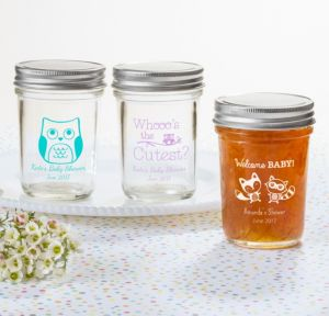 Personalized Baby Shower Mason Jars with Solid Lids (Printed Glass) (Lavender, Woodland)