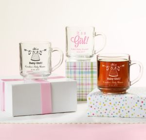 Personalized Baby Shower Glass Coffee Mugs (Printed Glass) (Pink, Shower Love Girl)