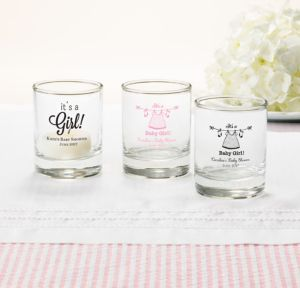 Personalized Baby Shower Shot Glasses (Printed Glass) (Pink, Shower Love Girl)