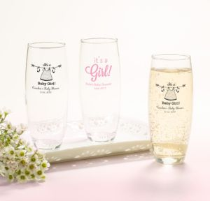 Personalized Baby Shower Stemless Champagne Flutes (Printed Glass) (Pink, Shower Love Girl)