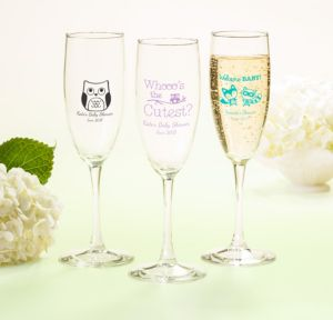 Personalized Baby Shower Champagne Flutes (Printed Glass) (Robin's Egg Blue, Woodland)