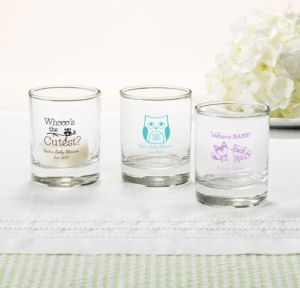 Personalized Baby Shower Shot Glasses (Printed Glass) (Robin's Egg Blue, Woodland)