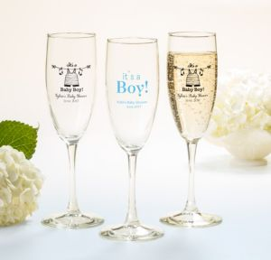 Personalized Baby Shower Champagne Flutes (Printed Glass) (Sky Blue, Shower Love Boy)