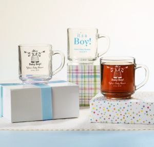 Personalized Baby Shower Glass Coffee Mugs (Printed Glass) (Sky Blue, Shower Love Boy)
