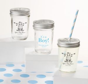 Personalized Baby Shower Mason Jars with Daisy Lids, Set of 12 (Printed Glass) (Sky Blue, Shower Love Boy)
