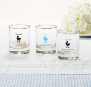 Personalized Baby Shower Shot Glasses (Printed Glass) (Sky Blue, Tiny Bundle)