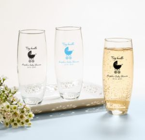Personalized Baby Shower Stemless Champagne Flutes (Printed Glass) (Sky Blue, Tiny Bundle)