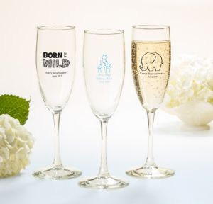 Personalized Baby Shower Champagne Flutes (Printed Glass) (White, Blue Safari)