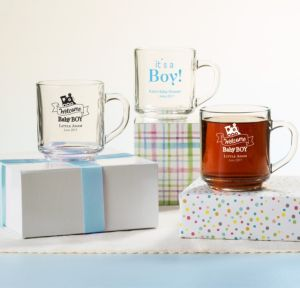 Personalized Baby Shower Glass Coffee Mugs (Printed Glass) (White, Welcome Boy)