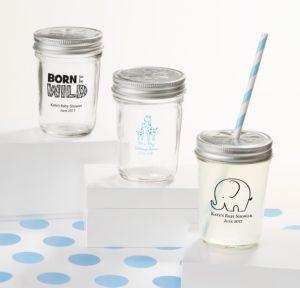 Personalized Baby Shower Mason Jars with Daisy Lids, Set of 12 (Printed Glass) (White, Blue Safari)
