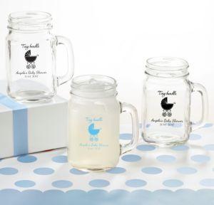 Personalized Baby Shower Mason Jar Mugs (Printed Glass) (Bright Pink, Tiny Bundle)